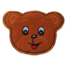 GINGER BEAR HEAD MOTIF IRON ON EMBROIDERED PATCH APPLIQUE
